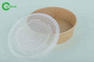 Kraft Paper Disposable Food Containers Oil Proof 25 Oz With Plastic Lid