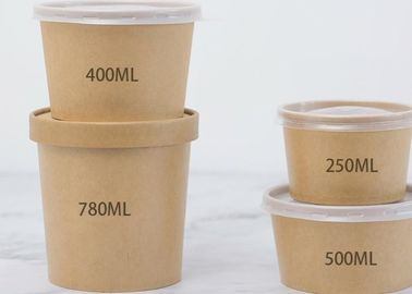Disposable Takeaway Paper Serving Bowls Customized 600pcs / Carton Packing